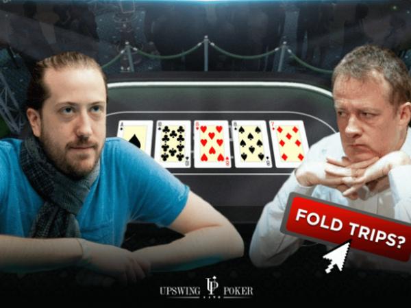 【美天棋牌】德州扑克对手河牌全压,要放弃这手三条吗?