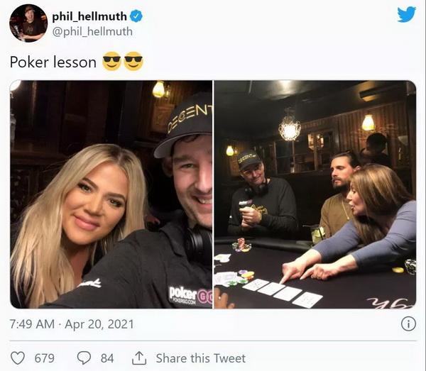 【美天棋牌】蹭热点?Hellmuth给卡戴珊上扑克课 Polk翻旧账暗讽土豪丹在2018年出售比特币行为