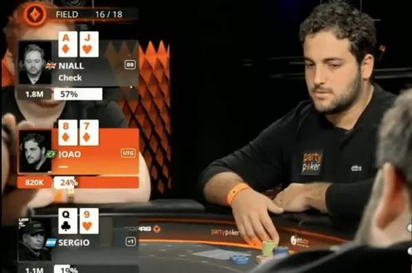 【美天棋牌】德州扑克听牌失败ALL IN出击 玩的就是心跳!
